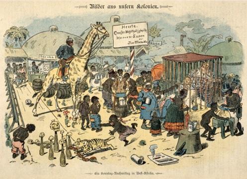 """Charge alemã de 1897. A legenda diz: """"Uma tarde de domingo na África Ocidental"""" mostrando um mundo surreal nas colónias na África no qual os escravos são senhores. No anúncio: """"Hoje:Grande banquete! 'Senhores como comida'!"""