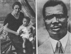 Bertha com o filho Hans, tendo ao lado a foto do pai