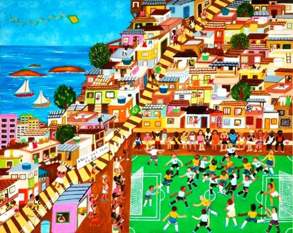 """""""Futebol na favela"""" - Pintura näif de Helena dos Santos Coelho - 'Talentos da Terceira idade, edição 2009"""