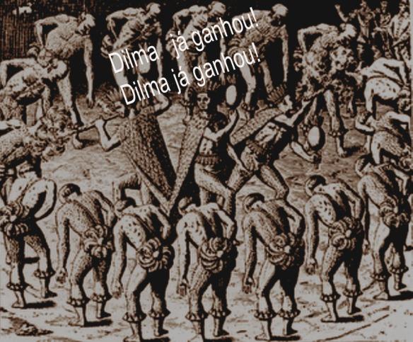 Tupinambás pelados dançam, batendo cabeça para os emplumados 'chefes' da tribo