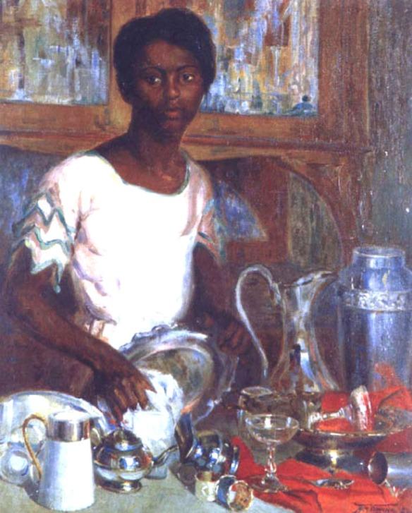Empregada limpando - óleo sobre tela - Armando Vianna- 1923