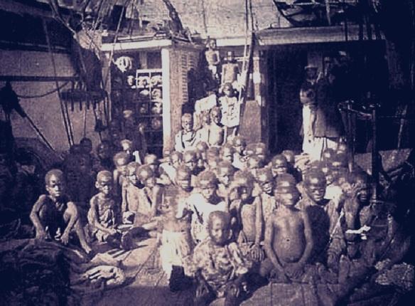 Crianças em navio negreiro real (cerca de 1840)