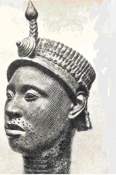 Máscara de bronze de Oba Oni com 36 cm de altura (tamanho de uma cabeça humana normal) da coleção do Ife Museum, Nigéria .