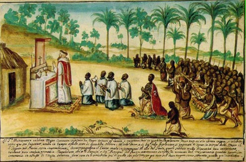 Aquarela assinada pelo padre capuchinho Bernadino Ignacio em 1740