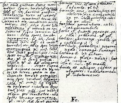 Vocabularium Latinum, Hispanicum et Kikongo. Pater Joris van Geel, 1647.