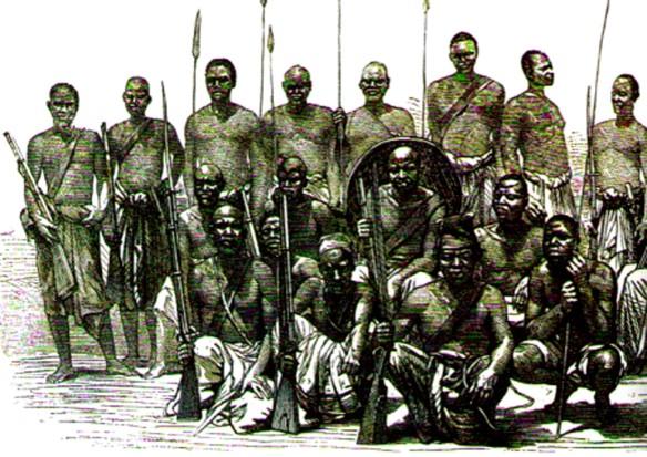 Século 19. Litografia sobre foto com guerreiros africanos com armamento misto (lanças e mosquetes). Não sei se são nagôs ou bantu.