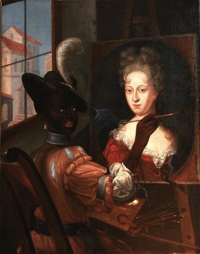 """""""Artista Negro(a) concluindo retrato de uma mulher branca aristocrata"""" aristocrata Pintura possivelmente da escola brasileira. Primeira metade do século XVIII. Óleo sobre tela. Altura: 41"""