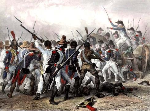 1845 - Batalha de Vertières durante a revolução haitiana - gravurista francês anônimo
