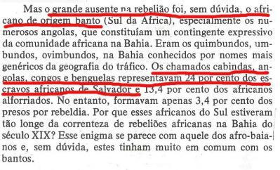 João Reis denegrindo os bantu e endeusando os nagô no mesmo discurso.