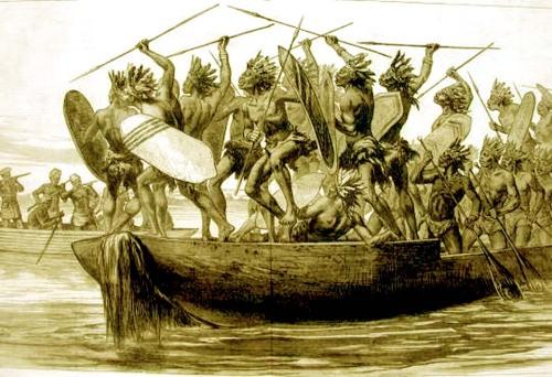 Século 19: Táticas de guerra em canoas no Rio Kongo com guerreiros especialistas em lutas com mosquetes ou lanças tradicionais. Muito acomodada e pusilânime esta gente bantu, não é não? Quando viram 'crioulos' então...