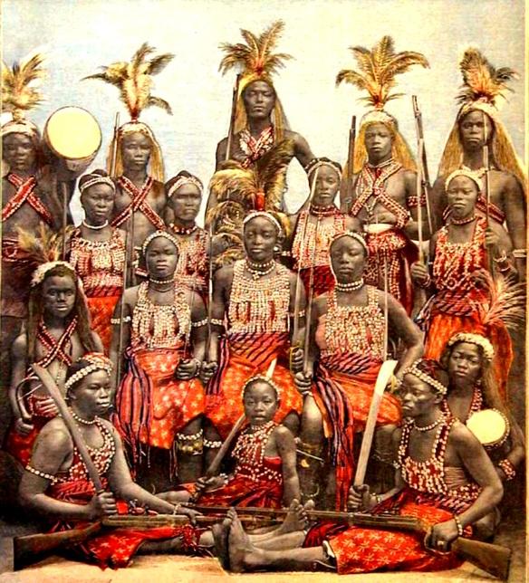 Dahomey's Amazons. Pintura sobre foto do século 19