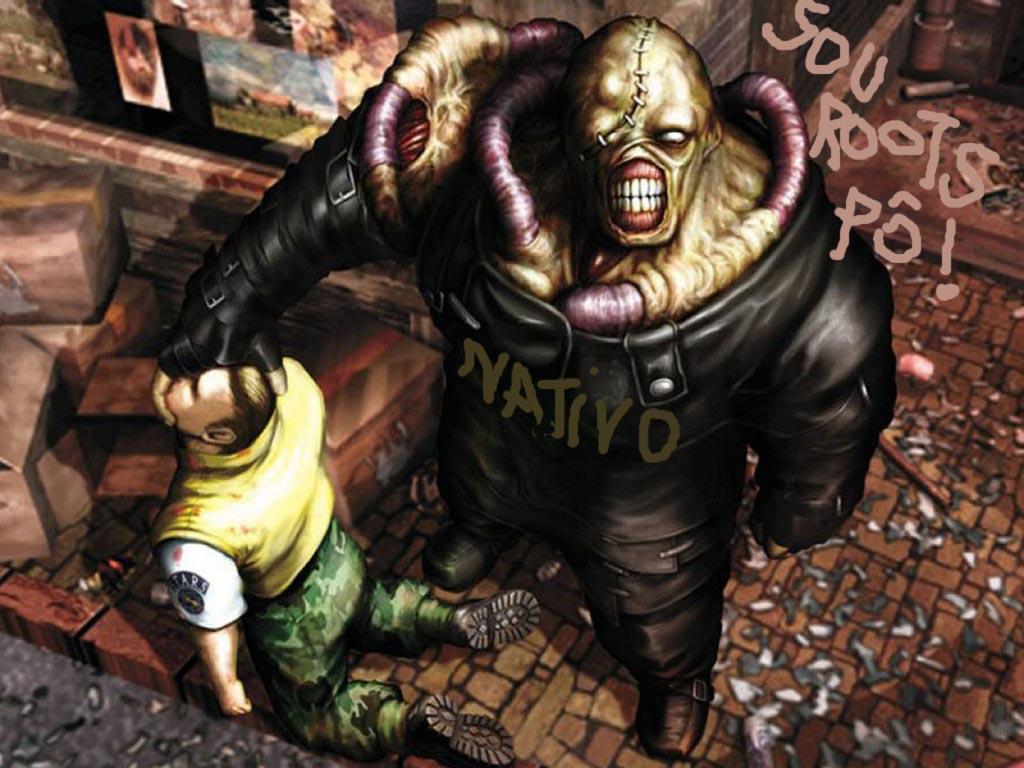 Titio no papel (imaginado) de Nêmesis se vinga de antropólogo - Extraído de R'esident-evil' (ilustration)