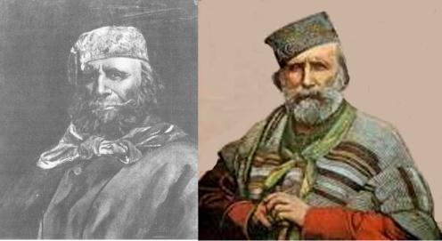 Francisco Félix de Souza , o Xaxá de Ajudá e Giuseppe Garibaldi em retratos quase gêmeos. Como assim?Garibaldi é mesmo este barbudo aí da direita, mas será que este da esquerda é mesmo o Xaxá?