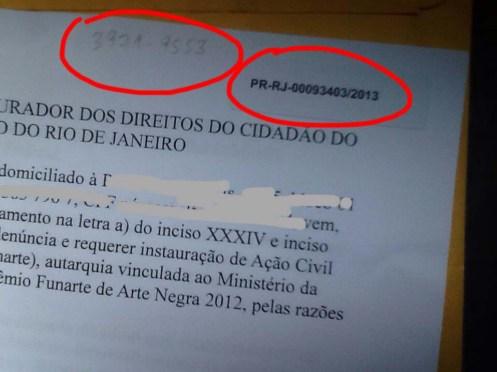 No detalhe o telefone do Ministério Público para consultas de qualquer um interessado e o número do protocolo.