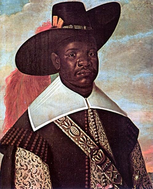 (Retrato realizado pelo pintor holandês Albert Eckhout de D.Miguel de Castro, nobre do Reino do Kongo, durante uma viagem comercial à colônia portuguesa do Brasil. O quadro é do século 17 e pertence ao acervo do Museu Nacional da Dinamarca).
